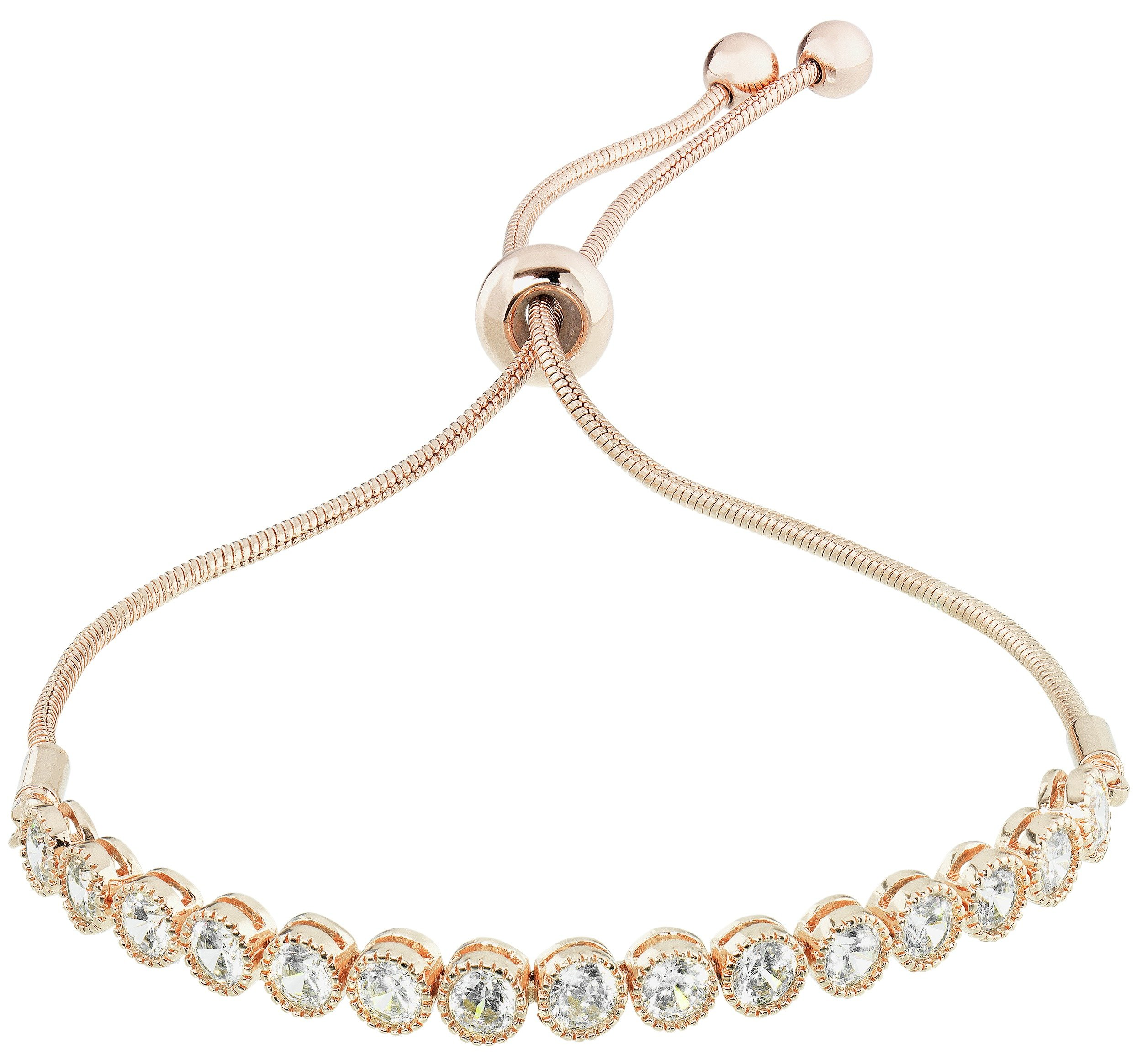 Image of Amelia Grace 18ct Rose Gold Plated CZ Snake Chain Bracelet