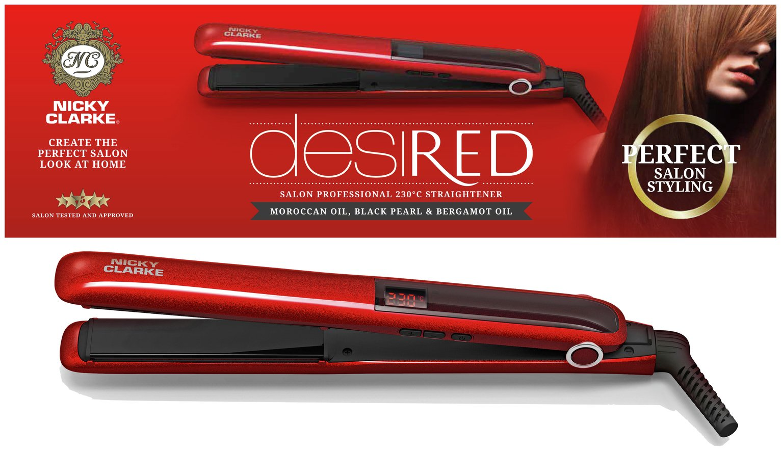 Nicky Clarke ISS248 DesiRED Salon Pro 230 Straightener.