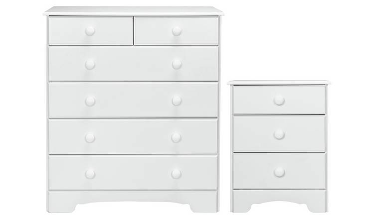 Argos Home Nordic Bedside & 4+2 Drawer Chest Set -Soft White