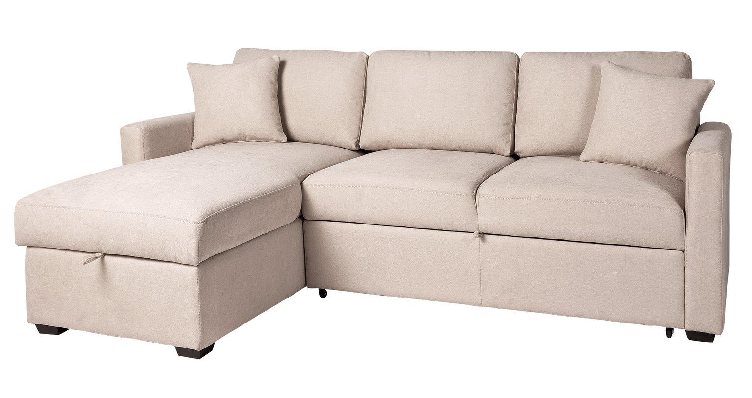 Argos Home Reagan Left Corner Fabric Sofa Bed - Natural