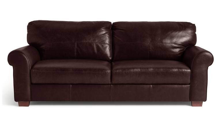 Habitat Salisbury 4 Seater Leather Sofa - Dark Brown
