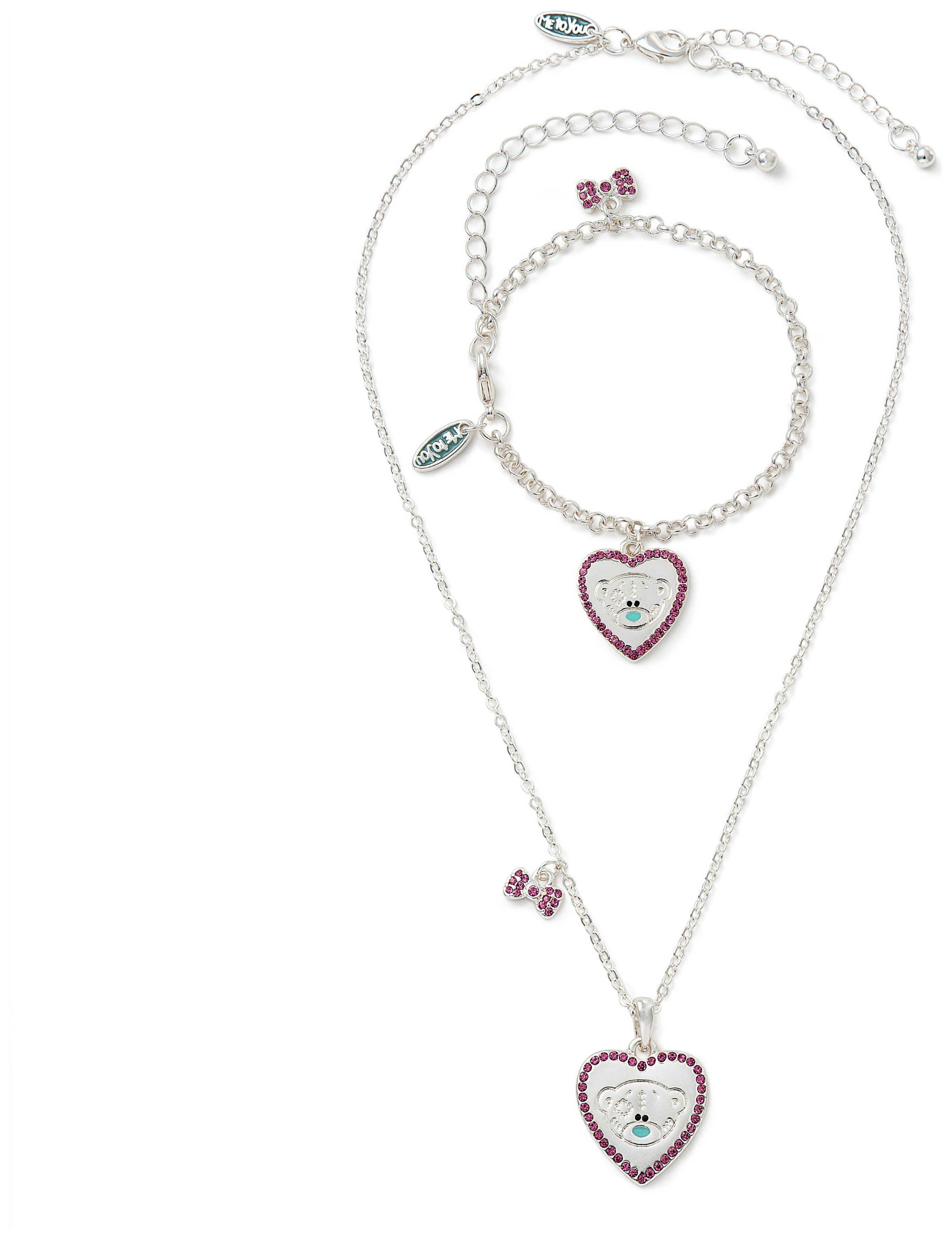 Image of Me to You Tatty Teddy Crystal Pendant and Bracelet Set
