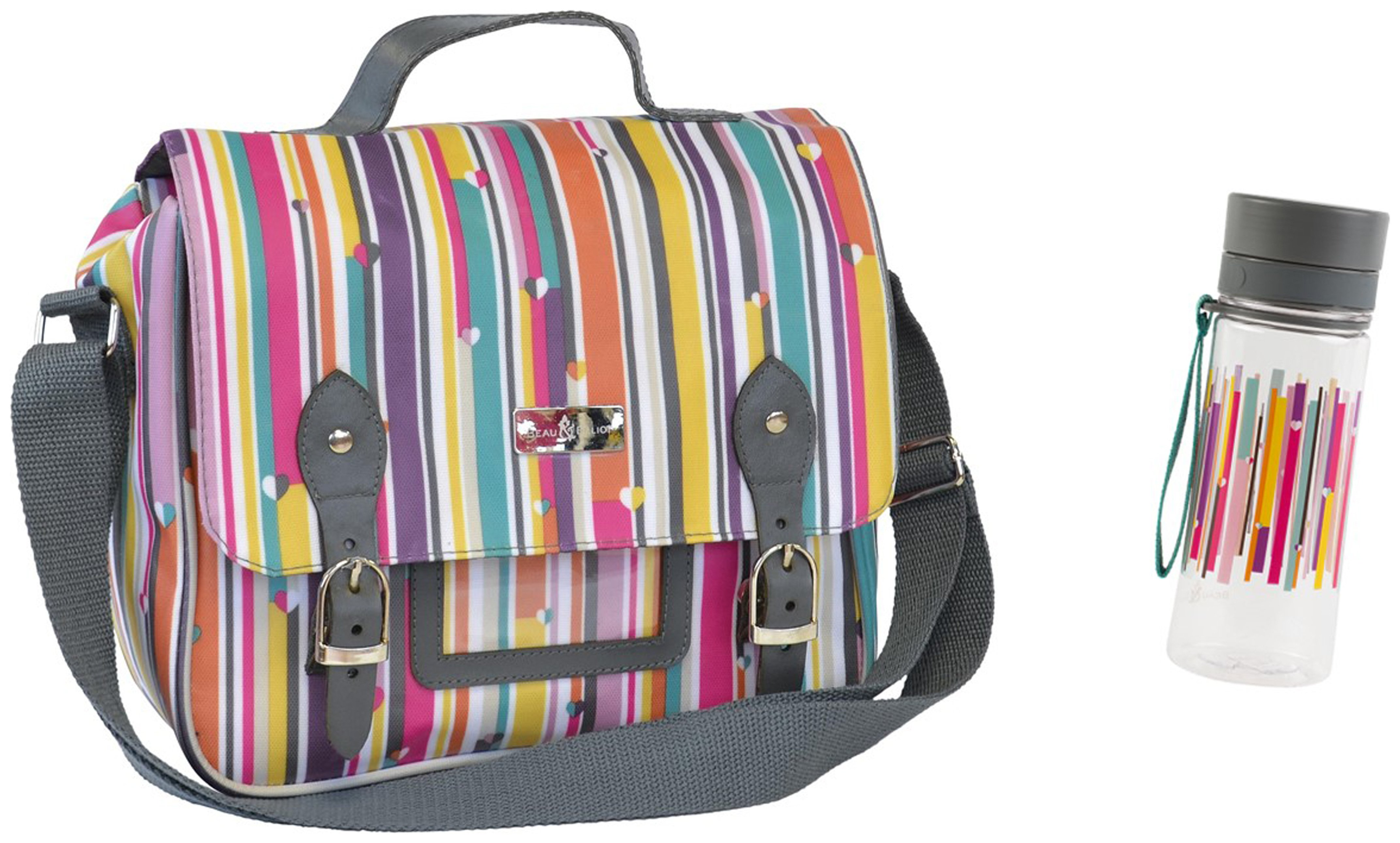 Image of Beau and Elliot Linear Lunch Satchel and Bottle.