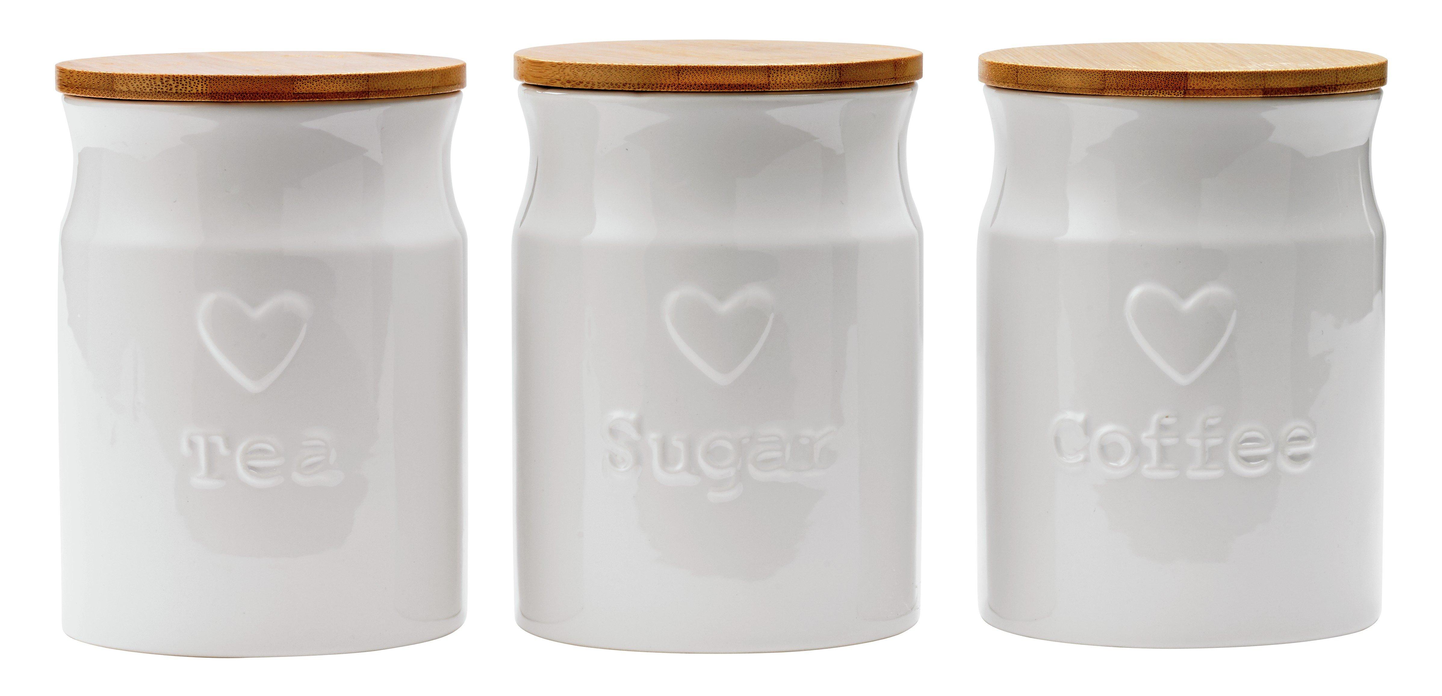 Argos Home Set of 3 White Heart Ceramic Storage Jars
