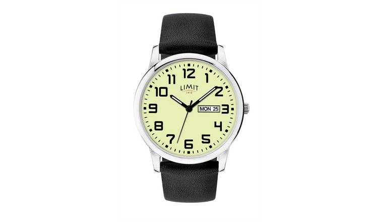 Limit Men's Glow Dial Silver Day/Date Black Strap Watch