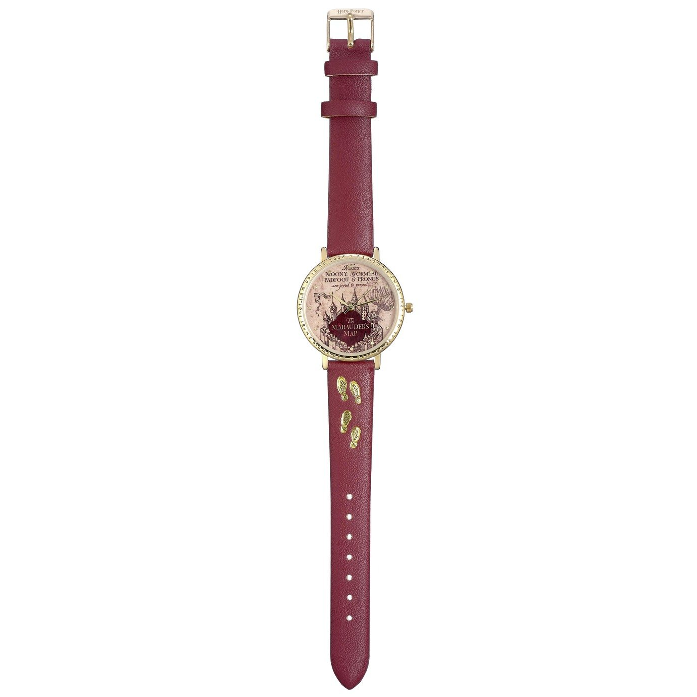 Harry Potter Marauders Map Burgundy Leather Strap Watch