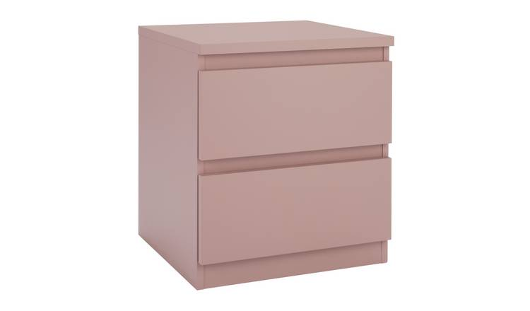 Argos Home Jenson 2 Drawer Bedside Table - Dusty Pink