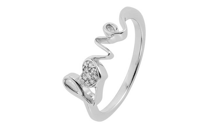 Revere Sterling Silver 0.03ct tw Diamond Love Ring - P