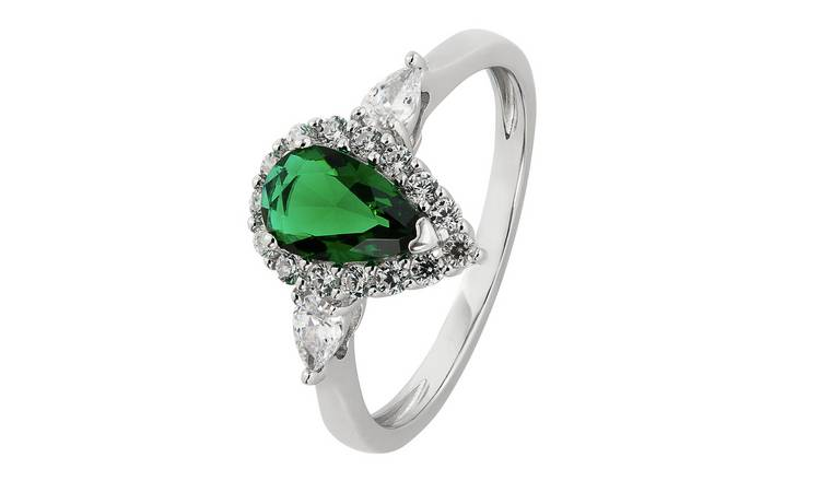 Revere Silver Emerald Colour and Clear Set Pear Ring - Q
