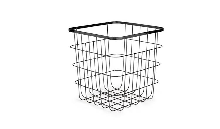 Habitat Flat Wire Squares Storage Basket - Black