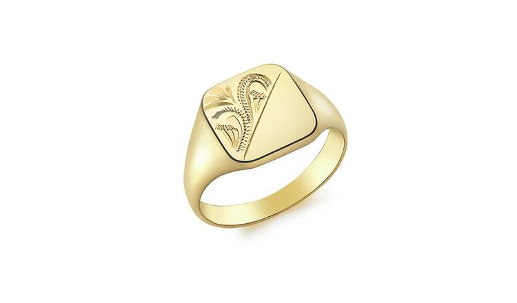 9ct Gold Personalised Pattern Square Signet Ring - H