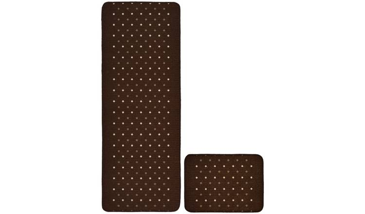 Pindot Runner and Doormat Set - Chocolate