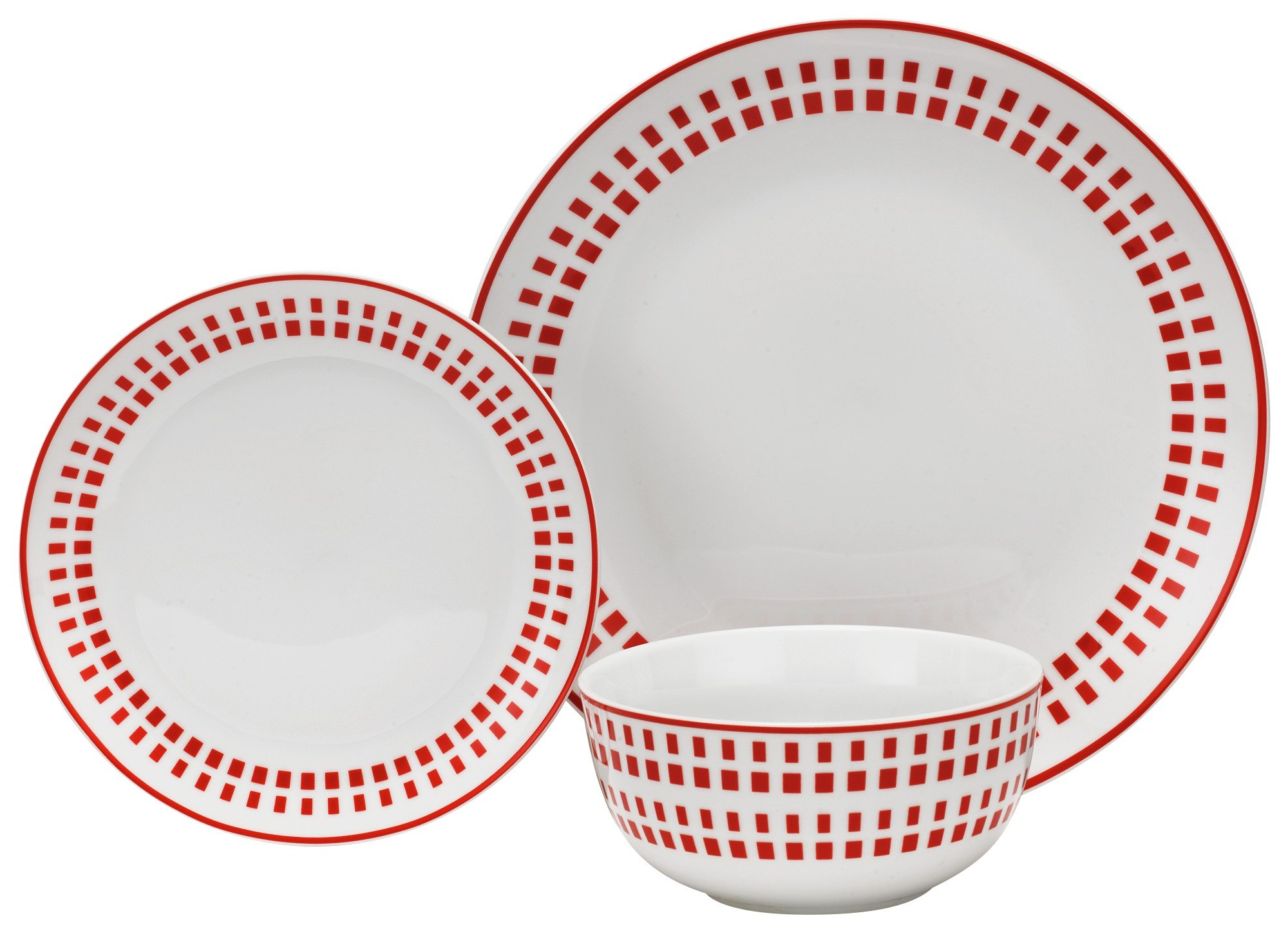 HOME 12 Piece Porcelain Dinner Set - Poppy Red.