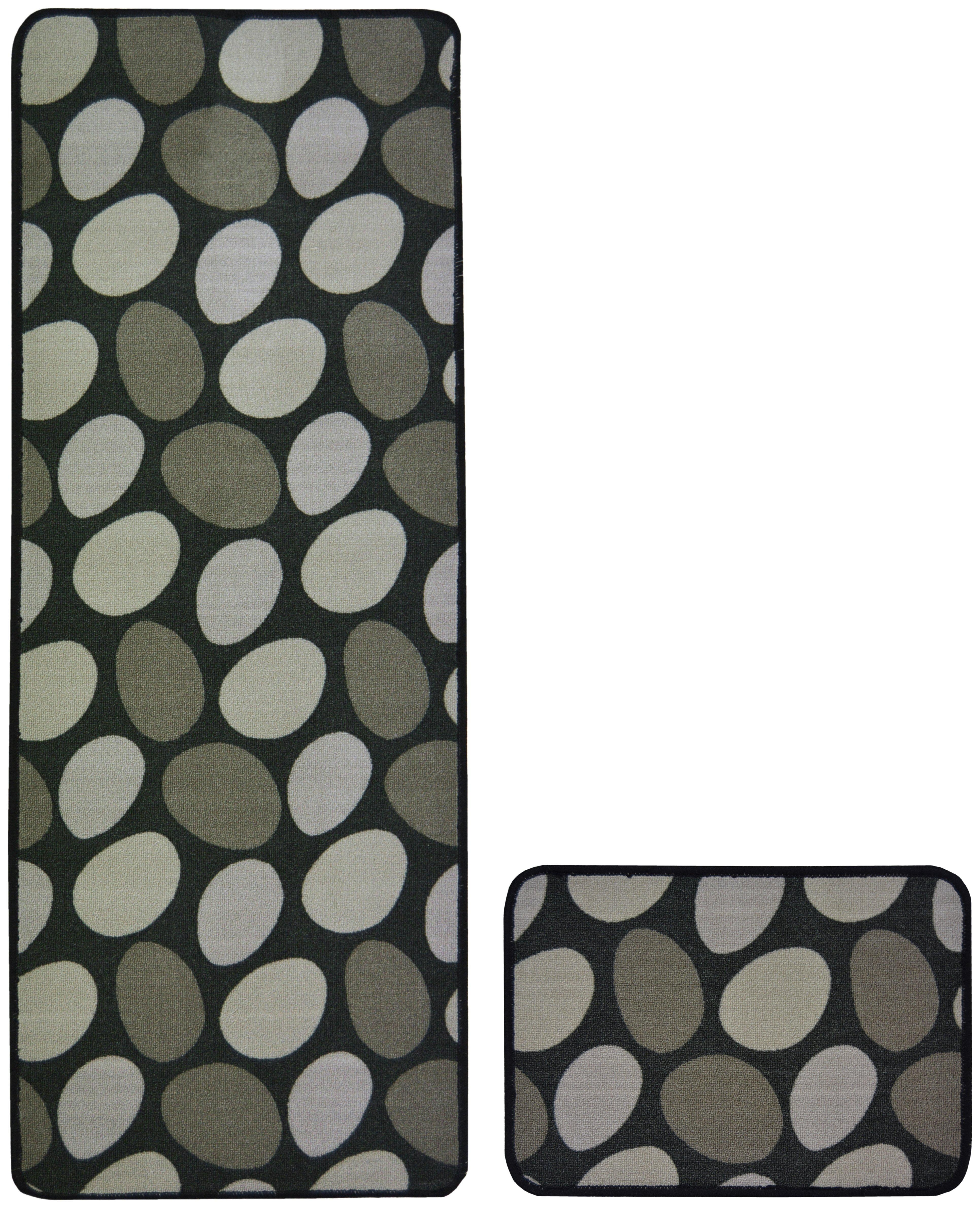 Stepping Stones Runner and Doormat Set 100cm - Black