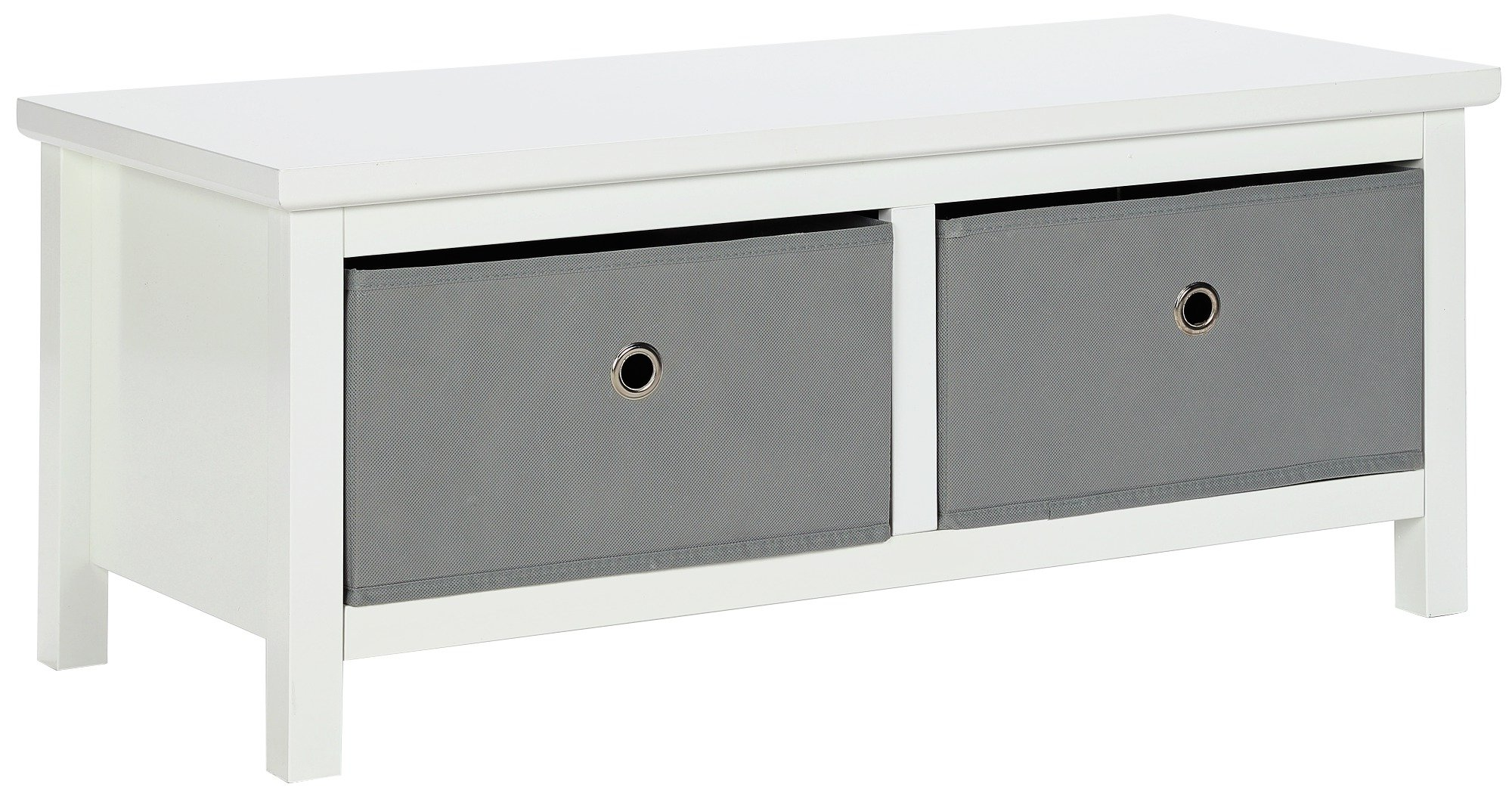 Argos Home Oscar White & Grey 2 Drawer Bench