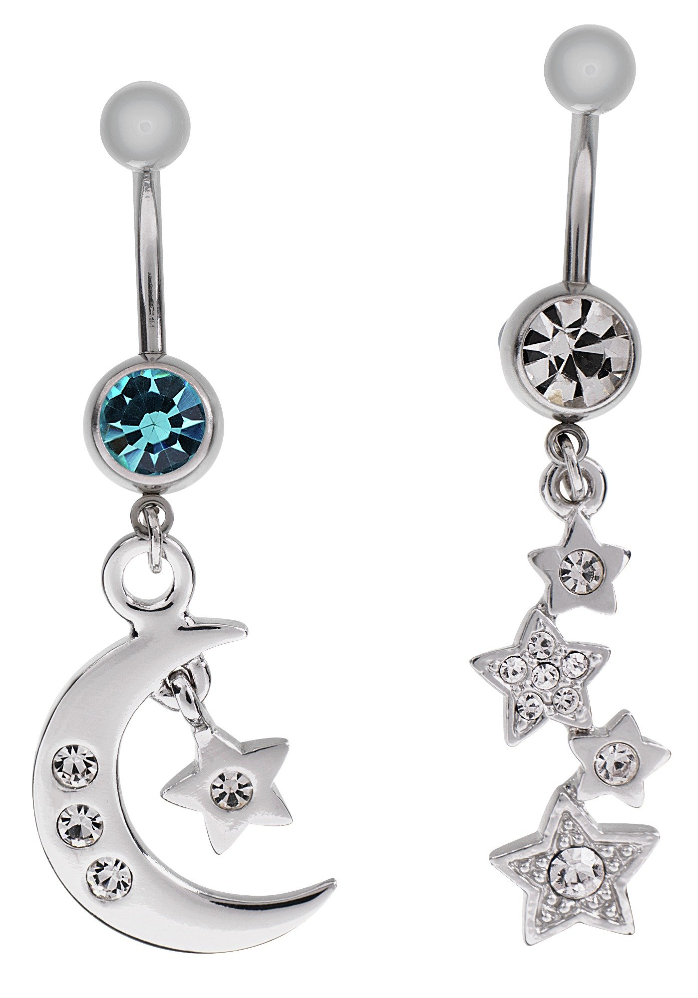 'State Of Mine Steel Star & Moon Crystal Belly Bar - Set Of 2