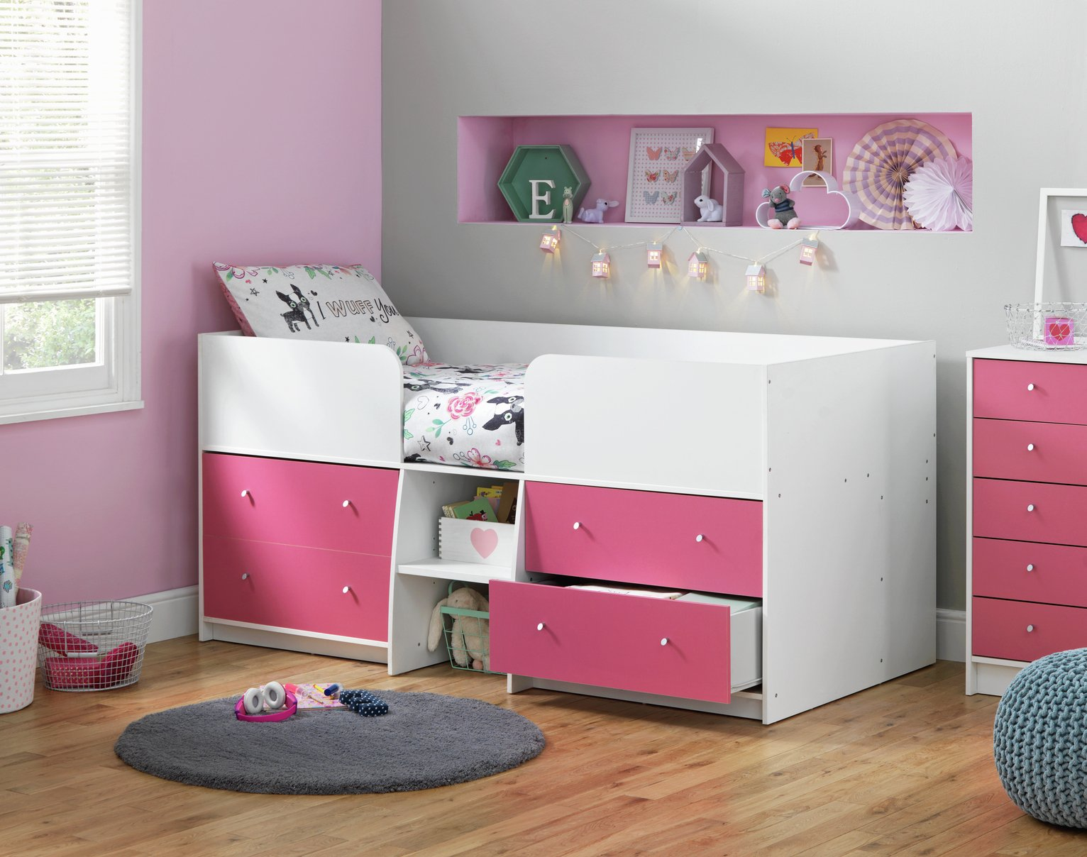 Argos Home Malibu Pink & White Shorty Mid Sleeper