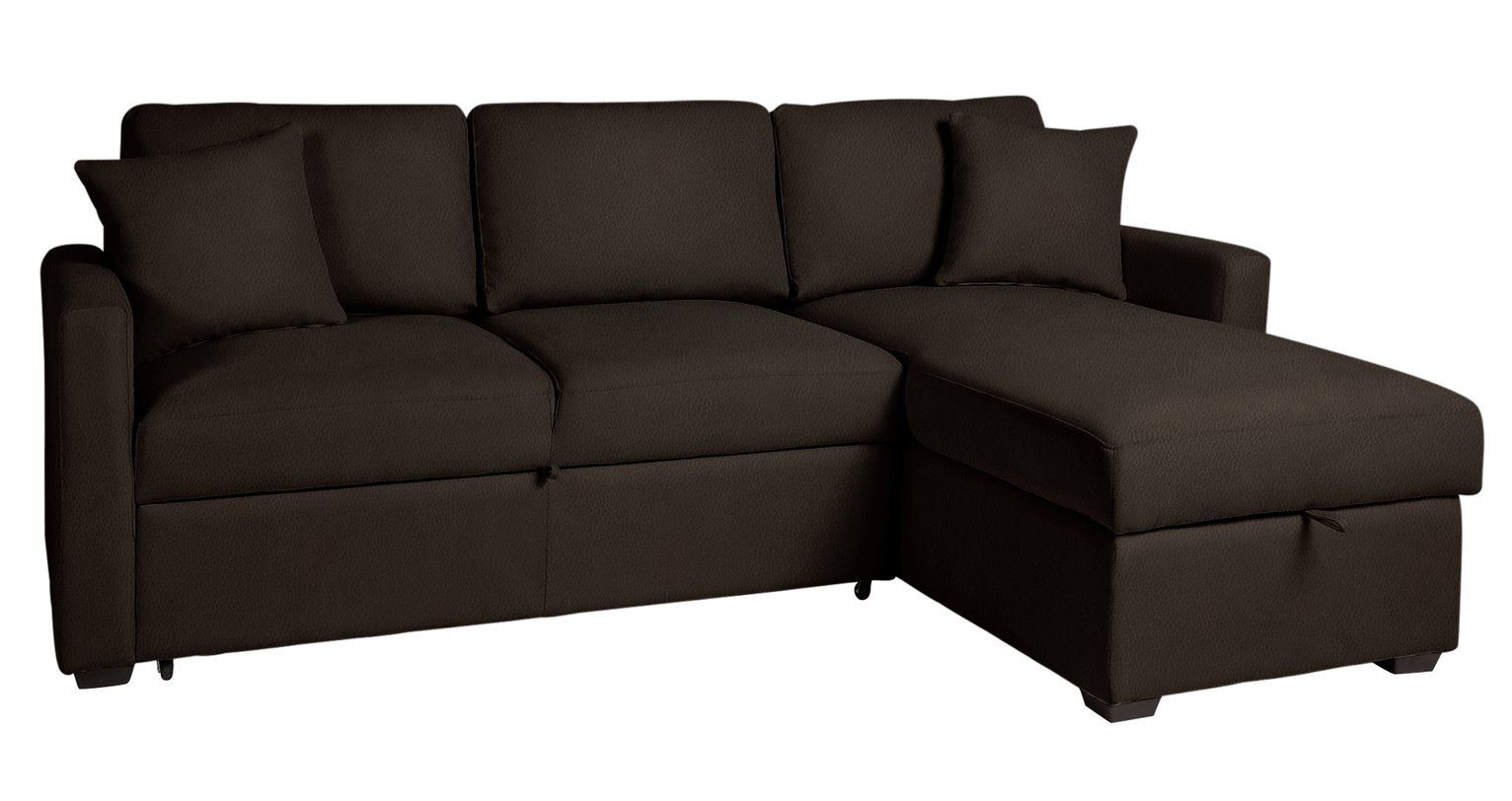 Argos Home Reagan Right Corner Sofa Bed - Dark Brown