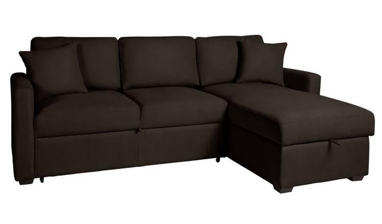Buy Argos Home Reagan Right Corner Sofa Bed - Dark Brown   Sofa beds   Argos