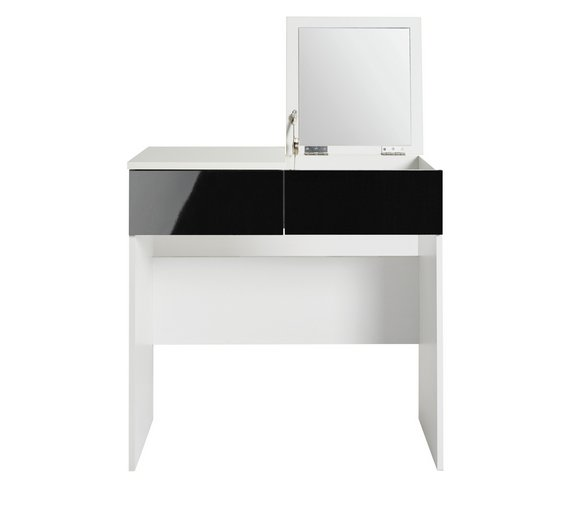 Buy HOME Malibu Dressing Table With Mirror Black Gloss White - Black gloss dressing table