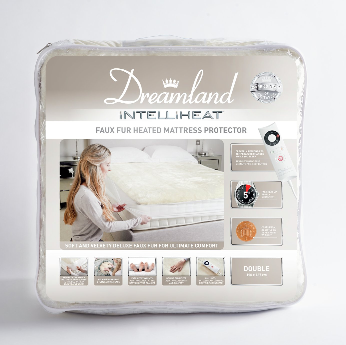 Dreamland Intelliheat Faux Fur Mattress Protector - Single