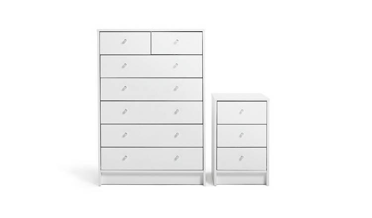 huge selection of 4cddd 4a299 Buy Argos Home Malibu Bedside & 5+2 Drawer Chest Set - White   Bedroom  furniture sets   Argos