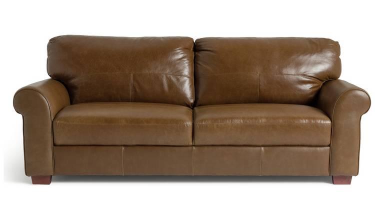 Buy Argos Home Salisbury 4 Seater Leather Sofa - Tan | Sofas | Argos