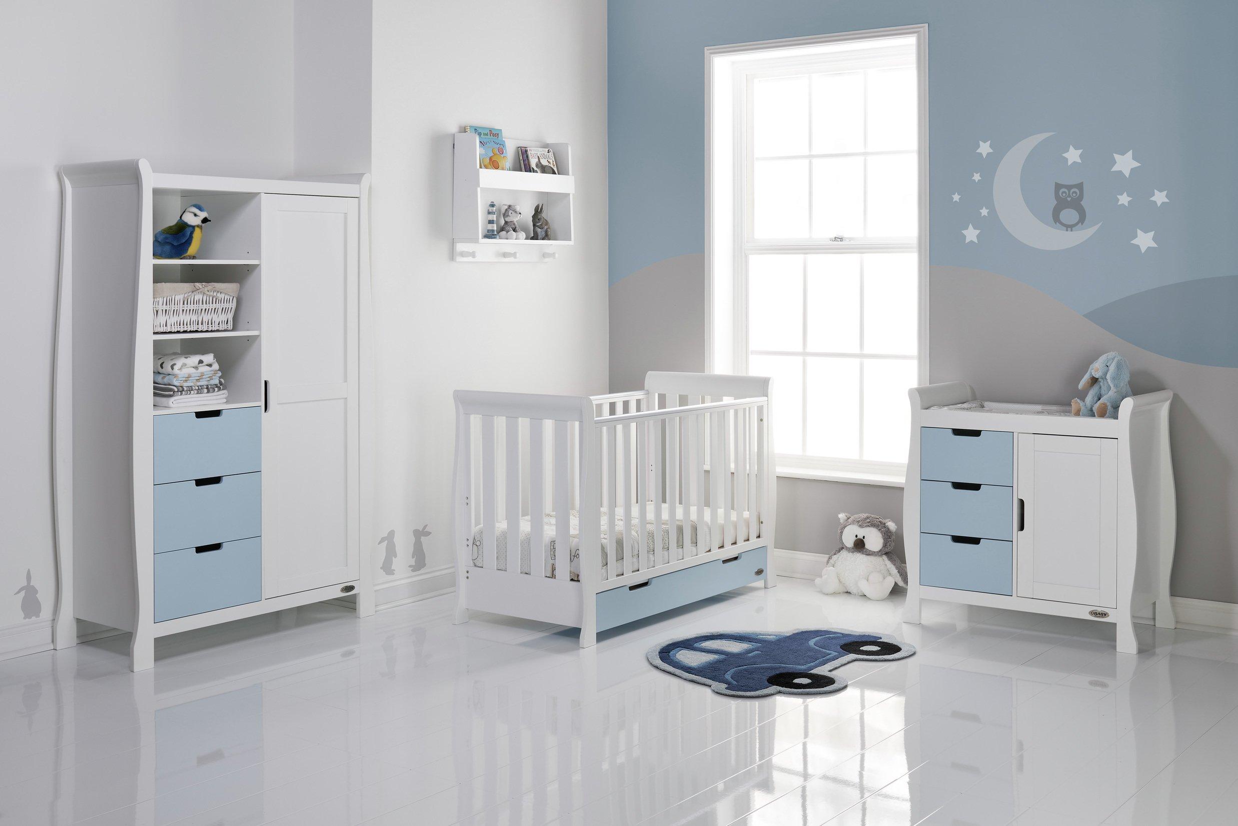 Obaby Obaby Stamford Mini Sleigh 3 Piece Room Set - White & Bonbon
