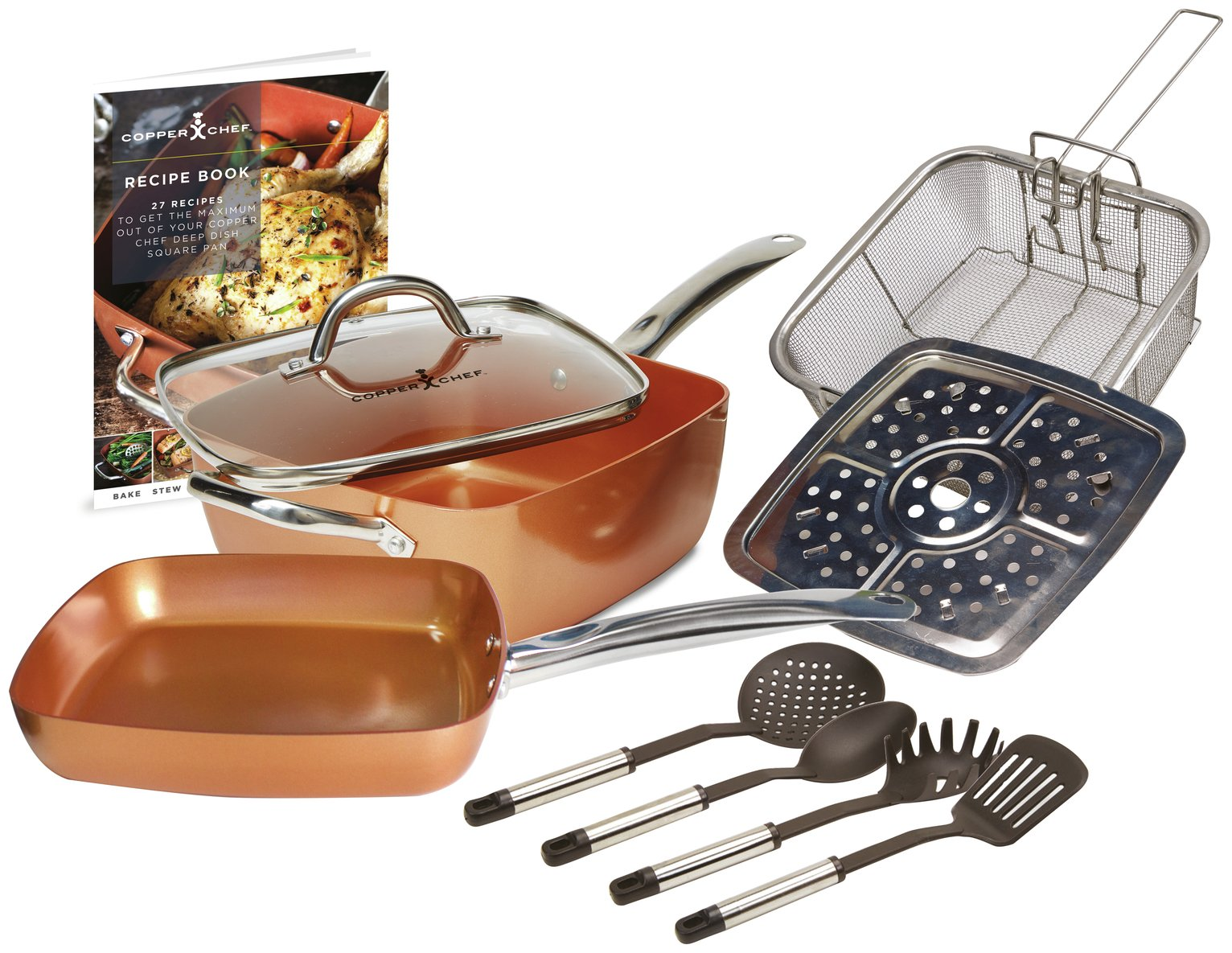 Copper Chef Deep Sided Square Pan - Deluxe 10pc Set