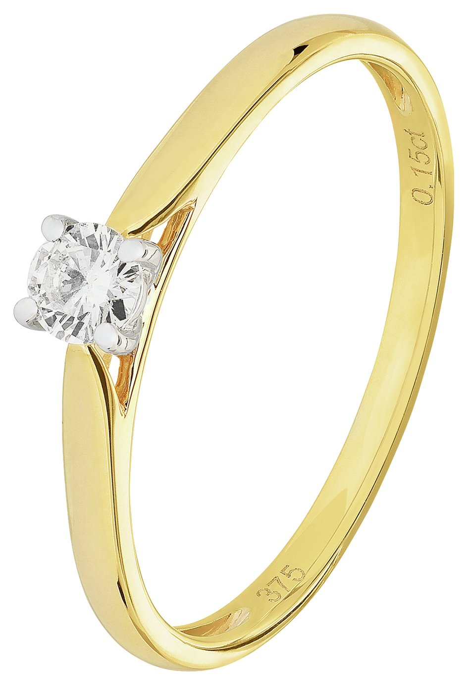 Revere 9ct Gold 0.15ct Diamond Solitaire Ring - N