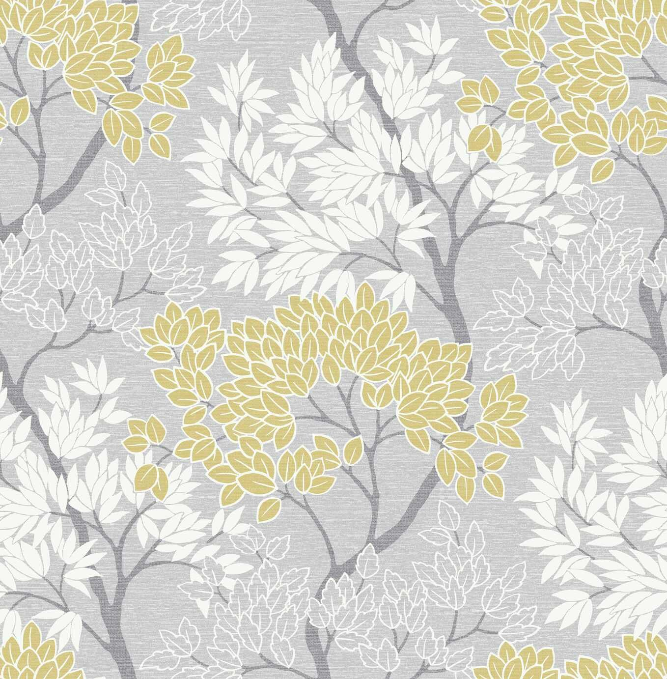 Fresco Lykke Tree Grey & Ochre Wallpaper