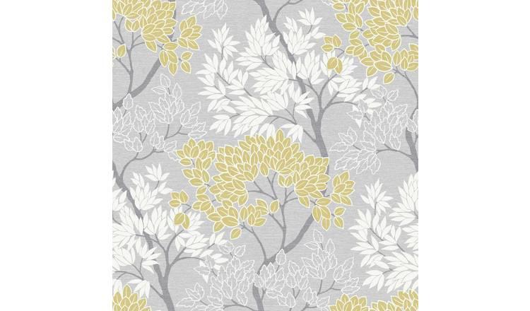 Fresco Lykke Tree Charcoal Floral Wallpaper