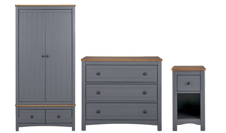 Argos Home Bournemouth 3 Piece 2 Dr Wardrobe Set - Dark Grey