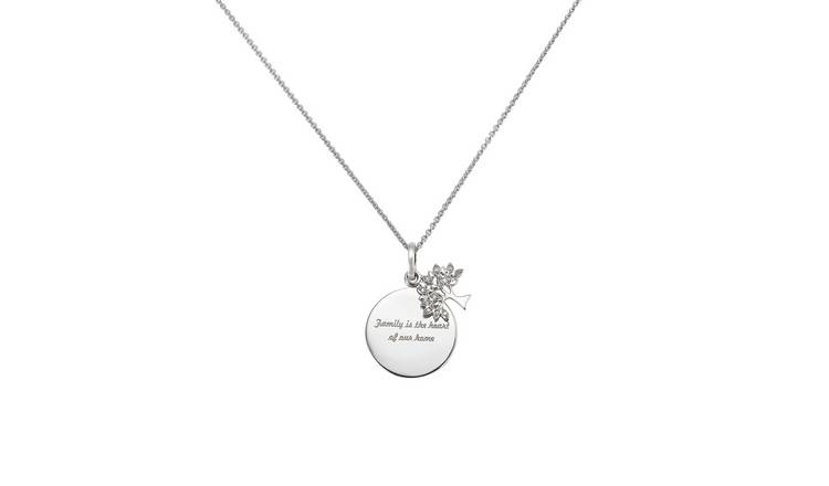 Moon & Back Sterling Silver Diamond Family Necklace