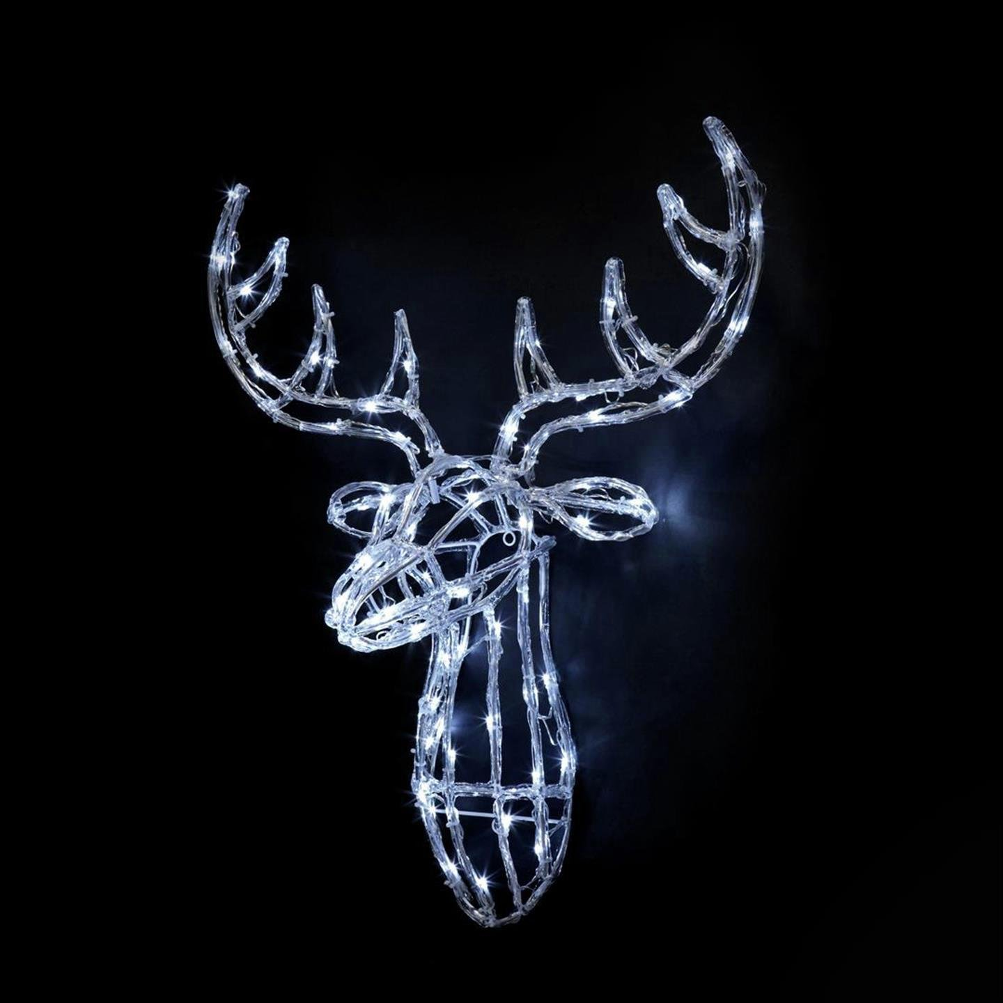 Premier Decorations 70cm LED Acrylic Reindeer Head - White
