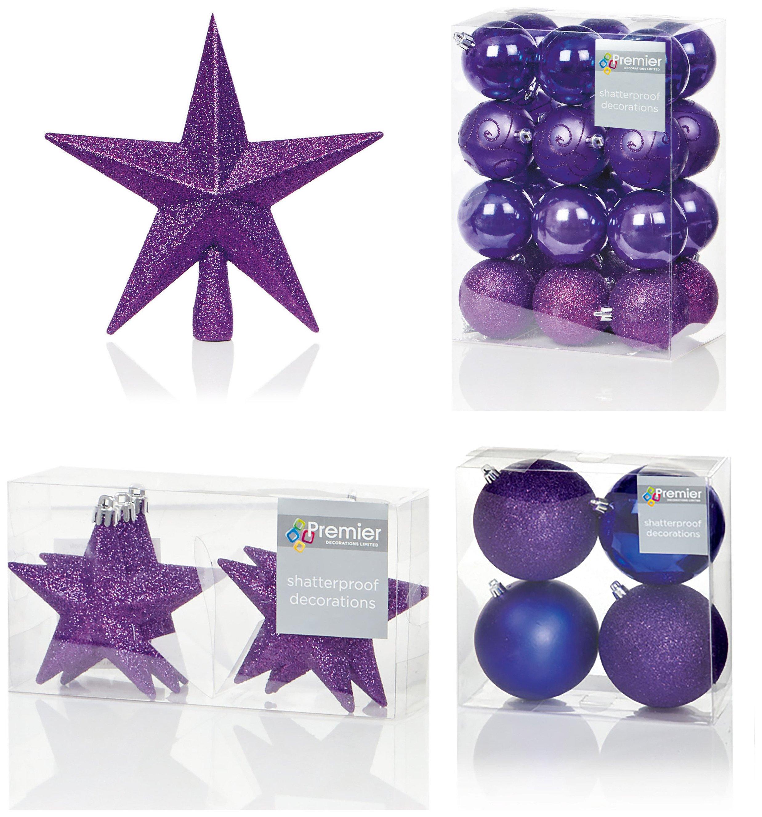 Premier Decorations - 35 Piece Luxury Decoration Set - Purple