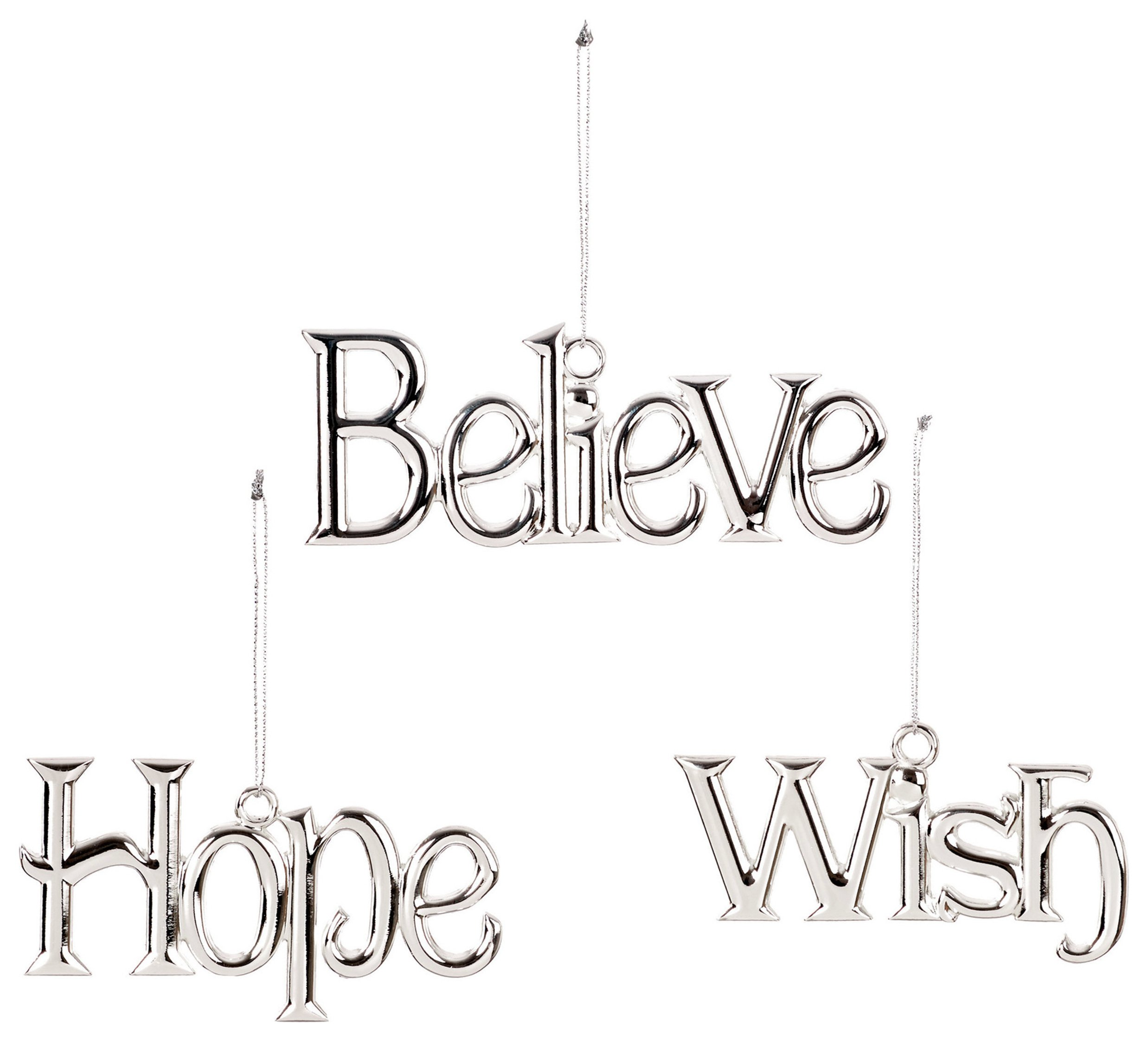 Premier Decorations Hope, Wish, Believe Decorations - Silver