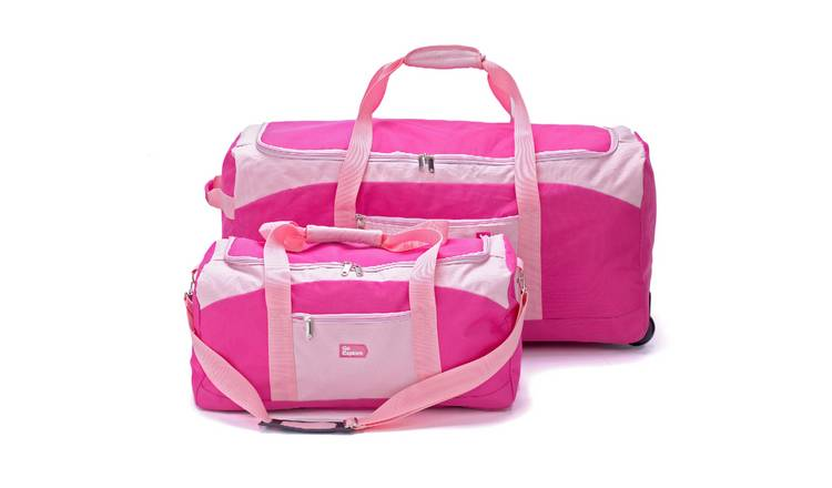 Go Explore Extra Large Pink Wheeled Holdall and Holdall Set