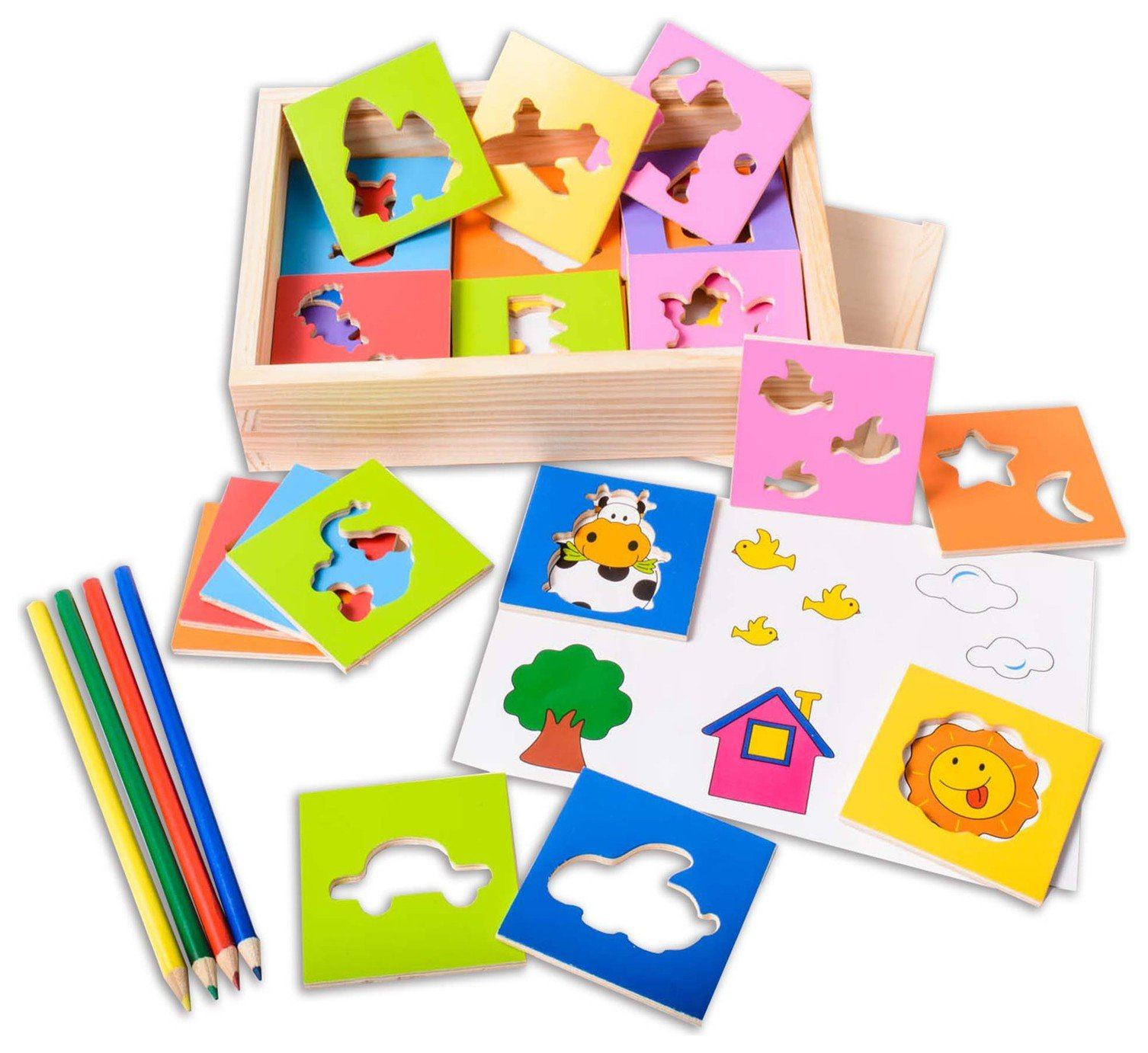 Image of EDUK8 Wooden Toy Stencil Game