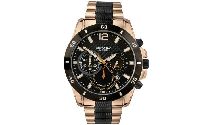 Sekonda Men's Black and Rose Gold Plated Chronograph Watch