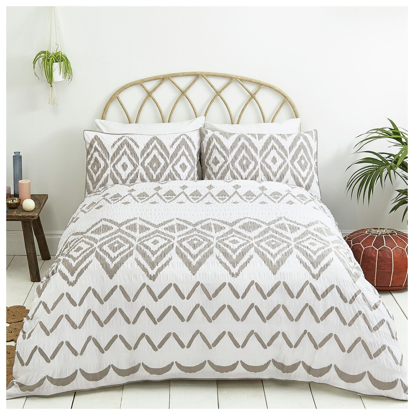 Sainsbury's Home Boho Grey Seersucker Bedding Set - Kingsize