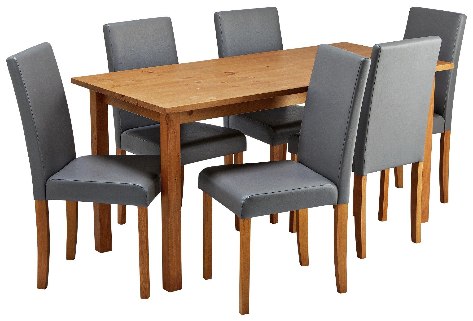 Habitat Ashdon Solid Wood Dining Table & 6 Grey Chairs