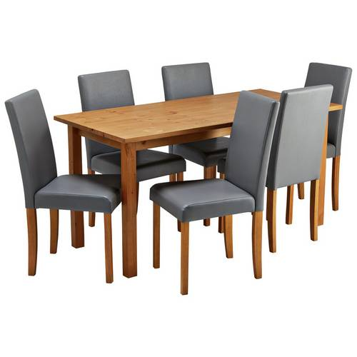 Buy Argos Home Ashdon Solid Wood Table & 6 Mid Back Chairs