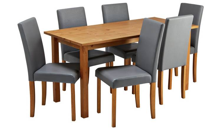 Habitat Ashdon Solid Wood Dining Table & 6 Grey Chairs