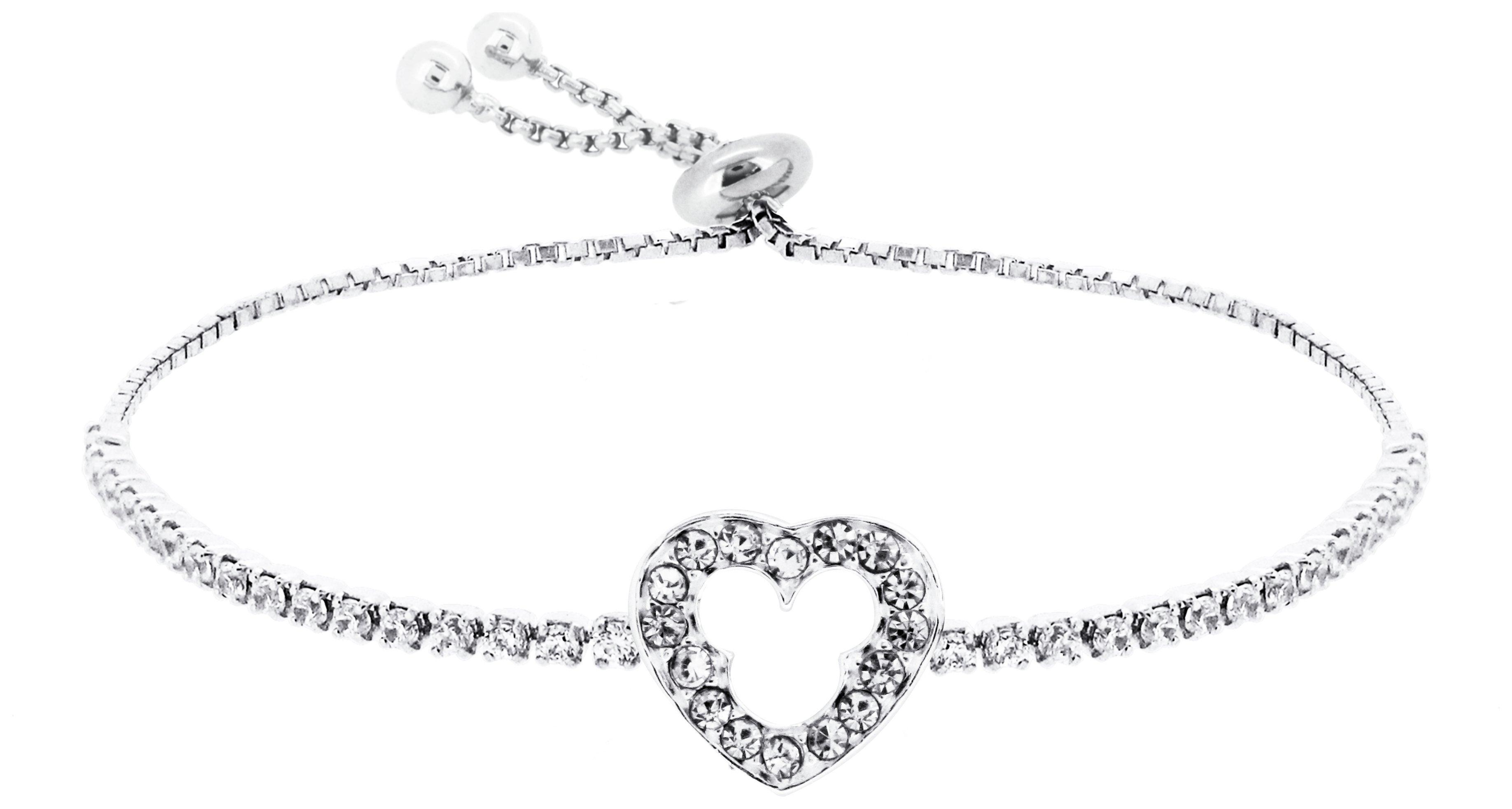 Disney Silver Mickey Mouse Heart Friendship Bracelet