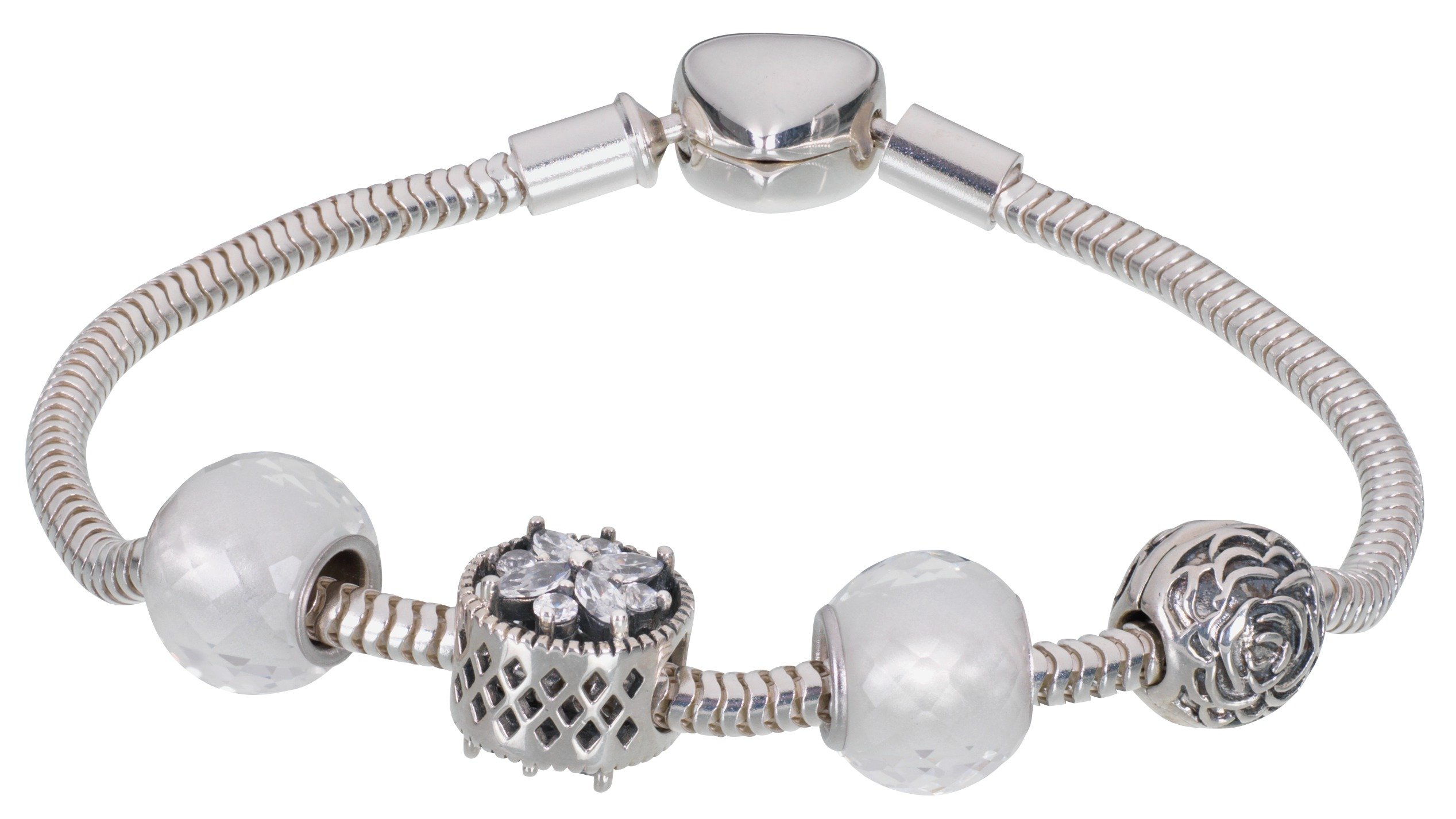 Moon & Back Sterling Silver White CZ Made Up Charm Bracelet
