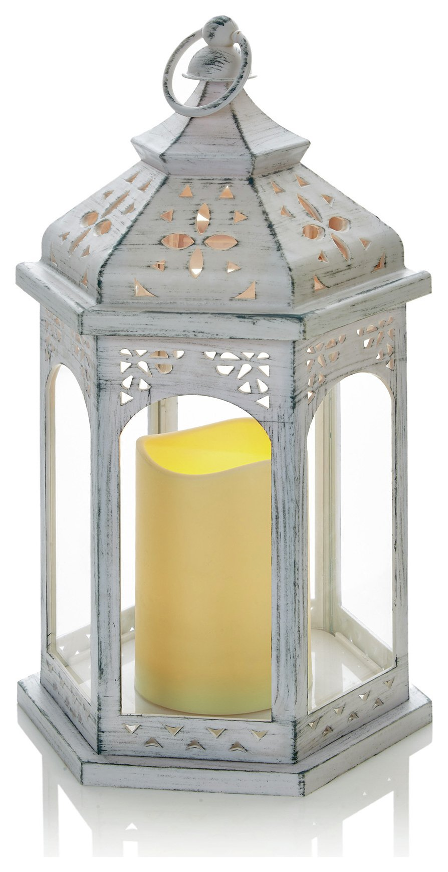 premier decorations led candle lantern white. Black Bedroom Furniture Sets. Home Design Ideas