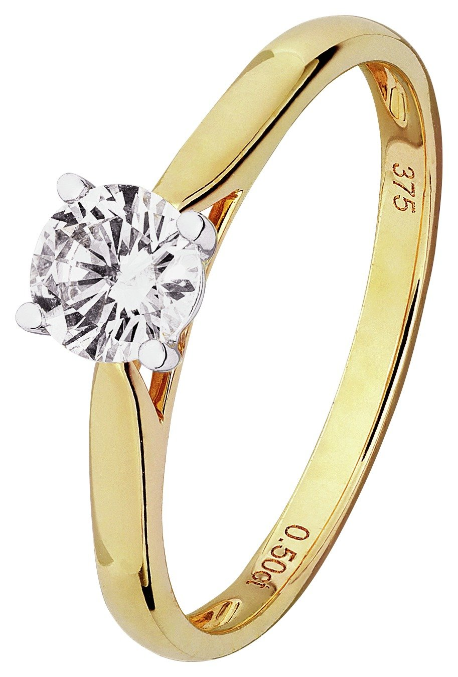 Revere 9ct Gold 0.50ct tw Diamond Solitaire Ring