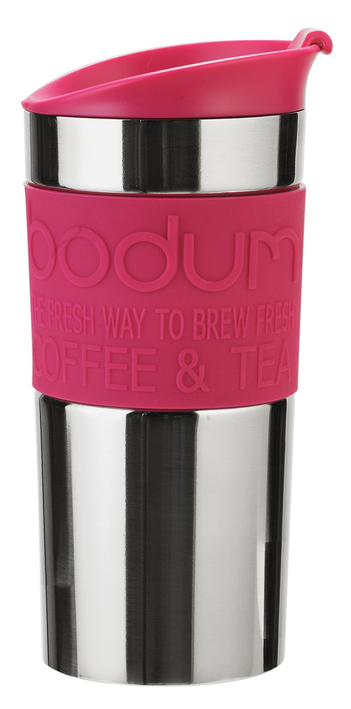 Bodum Stainless Steel and Pink Travel Mug