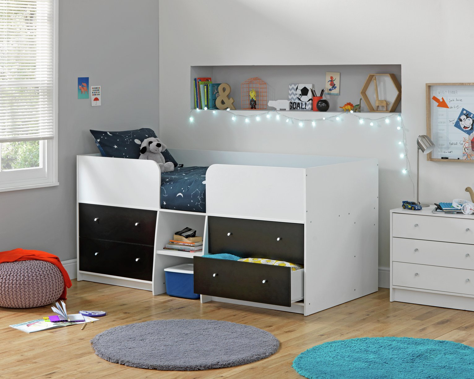Argos Home Malibu Black & White Shorty Mid Sleeper Bed Frame
